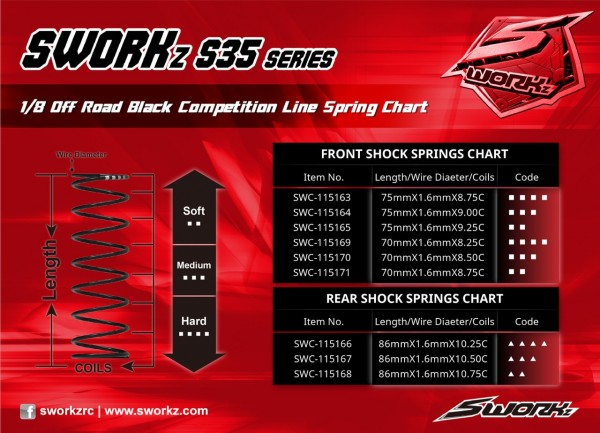 S35 Series Black Competition Front Shock Spring (M3-Dot)(75X1.6X9.0)